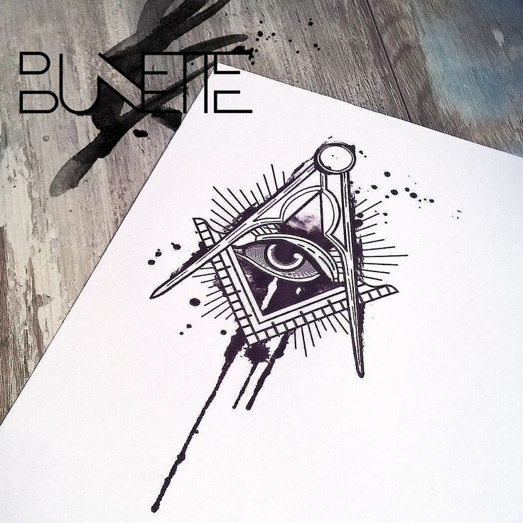 Trash polka watercolour tattoo freemasonry freemason bunette geometric