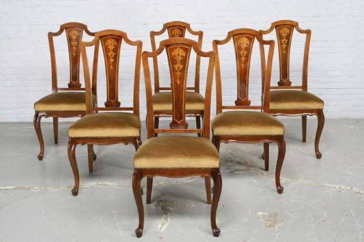 BEAUTIFUL INLAID FRENCH ANTIQUE DINING ROOM SET ESTATE DINING CHAIRS - 16BE2407D
