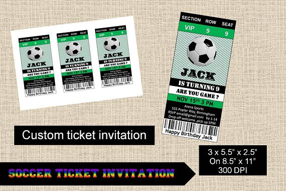 Soccer Ball Football Custom Ticket InvitationFootball Party