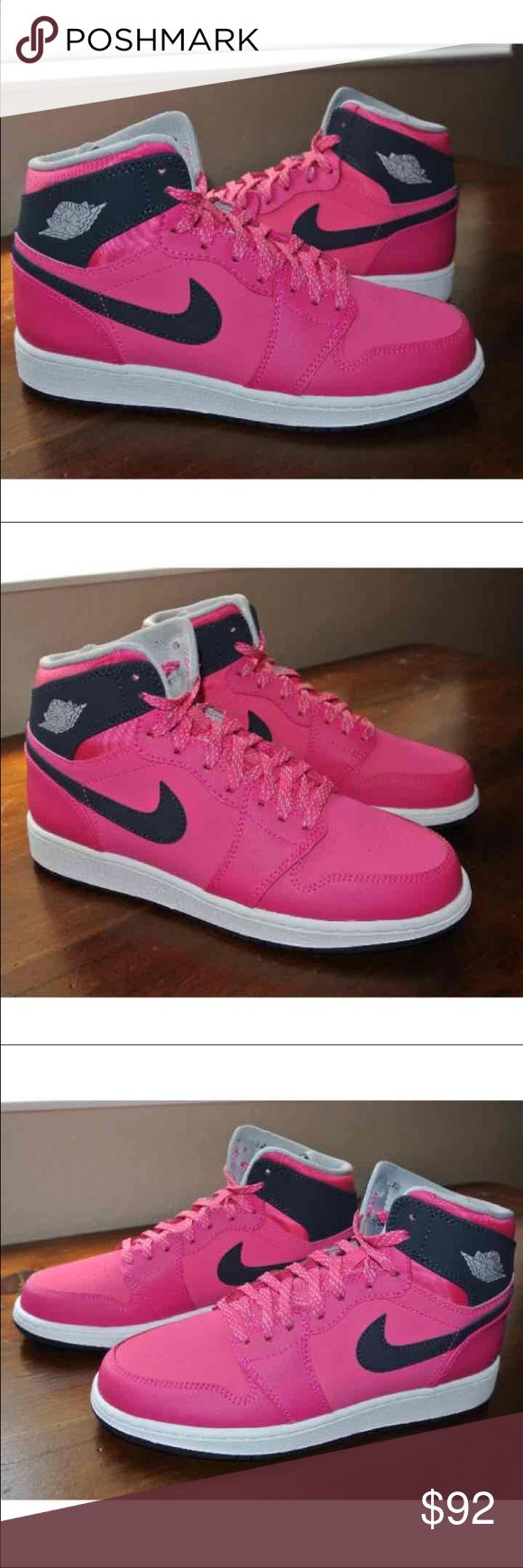 Jordan Retro 1 Vivid Pink 6.5Y Brand new without box. Vivid pink, obsidian, wolf gray and white. . This is a YOUTH 6.5 which will fit a women's 7.5-8. Nike Shoes Sneakers