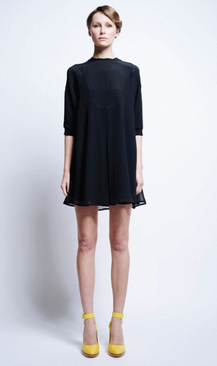 Karen Walker | Klister Gathered Dress-Black | Sisters & Co