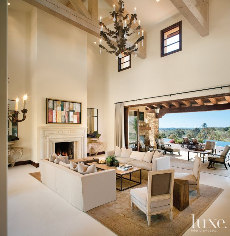 Transitional White Great Room With Double Height Ceiling Luxe Living Rooms Pinterest