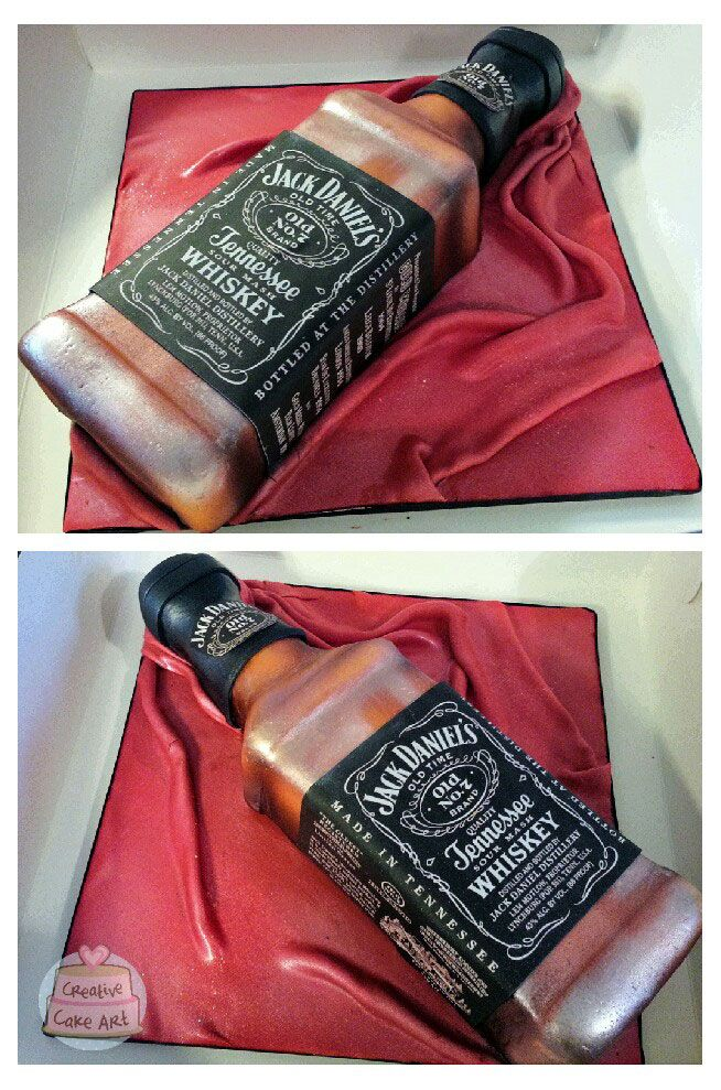 Jack Daniels whisky bottle cake (Decorated Bottle For 21st)