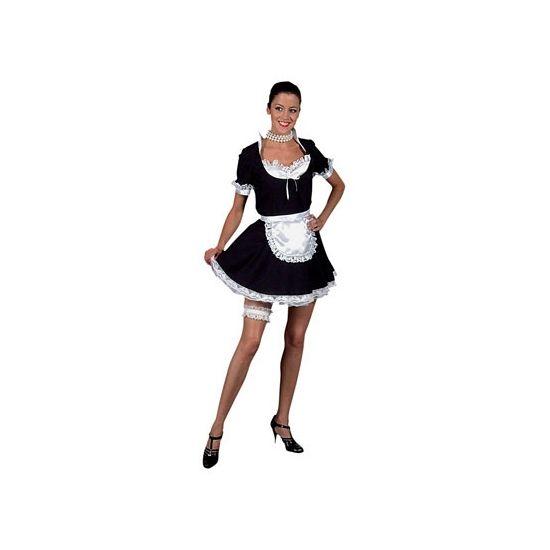 Sexy dienstmeisje/ kamermeisje kostuum voor dames. Het dienstmeisje kostuum bestaat uit het zwarte jurkje en een wit schort. Het kostuum is gemaakt van brandvertragend materiaal en heeft een normale pasvorm. Materiaal: 100% polyester.