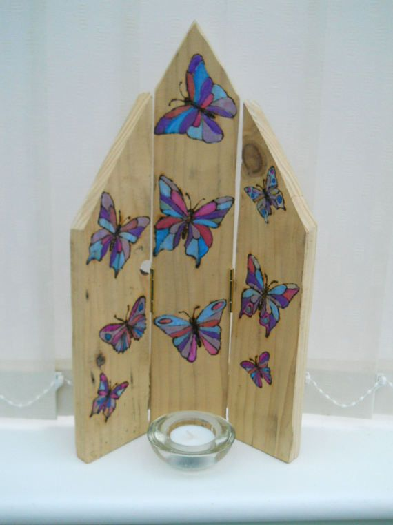 Candle Triptych  Butterflies  Three Part Screen