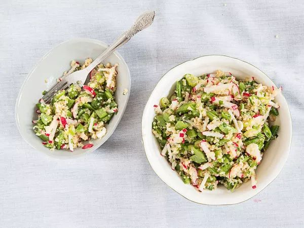 This light quinoa salad, filled with scallions, mint, and crisp snap peas, makes a perfect summer side dish for picnics and barbecues.