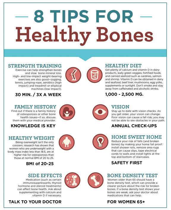8 Tips for Healthy Bones 1. Strength Training 2. Healthy Diet 3. Knowledge is Key 4. Annual Check-Ups 5. Healthy Weight 6. Safety 7. Take Advice from Your Doctor 8. Bone Density Test for Women of Age 65+ Recommendations : Increase the Volume of Protein in your intake. for e.g Start to take Nutrilite Natural Protein and Bone Health Calcium in your milk... You will See Sudden Effects in Few Months Only. Live A Better Life! Live Healthy! http://www.swimhealth.net