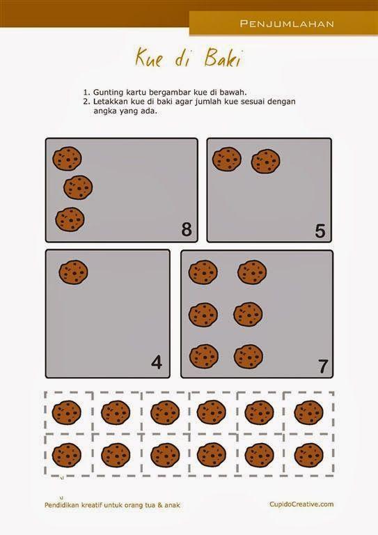belajar anak sambil bermain, untuk paud, TK, SD, gunting tempel gambar kue