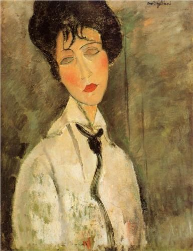 """Amedeo Modigliani (Livorno, Italy 1884-1920). Painting, sculpture. Expressionism. """"Portrait of a Woman in a Black Tie"""" (1917). Oil on canvas."""