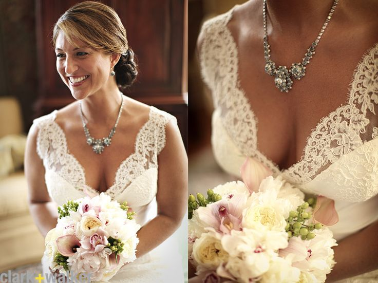 A little bit of cleavage and lace on the wedding day i love this dress with the accent of the flowers and beautiful necklace!