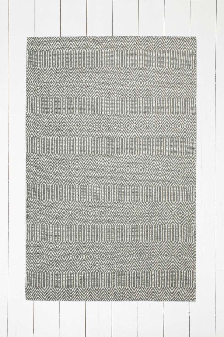 Teppich mit Rautenmuster in Grau, 4 x 5 Fuß