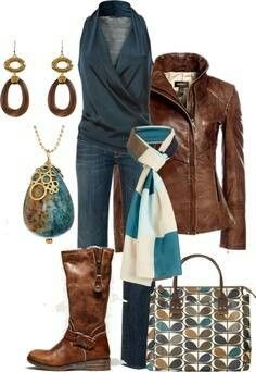 Teal & pops of brown leather. I love the earings, necklace and purse, they pull it all together.