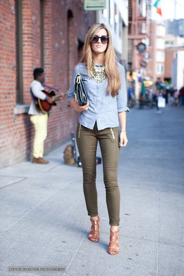 Chambray Shirt + olive skinnies + cognac sandals + statement necklace