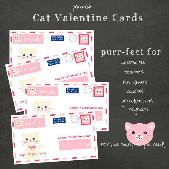 Cat Valentine's Day Card Kitten Valentine Kids Air by Freshcitrus