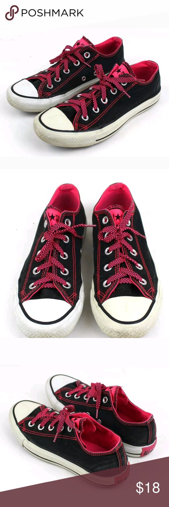Converse All Star Low Top Sneakers Converse All Star Womens Low top Sneakers .  Size 6  Black Canvas with Pink Accents & Stitching  Sneakers are in good condition. Soles have lots of life left -- only flaw is one shoe seems to be more faded than the other. Converse Shoes Sneakers