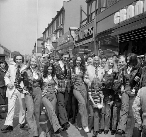 Pan's People were chosen by customers of Granditer menswear shops to the opening ceremony when the group opened a new branch in East Ham. 1972.