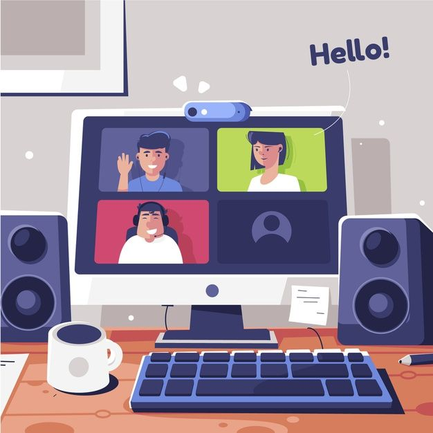 Download Friends Computer Video Calling For Free In 2020 Simple Artwork School Illustration Infographic Design Template