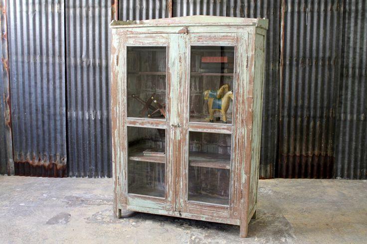 Bar Cabinet Restored Antique Indian Teak Storage Cabinet Curio Media Stand Moroccan Decor Mediterranean Decor