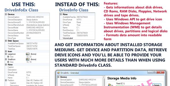 DriveInfoEx class - extension for DriveInfo . DriveInfoEx is a .net class which purpose is to provide some extra data about every storage drive installed. You can get drive icon (large and small), device details (manufacturer, model, serial no etc.), partition details (disk index, offset, size