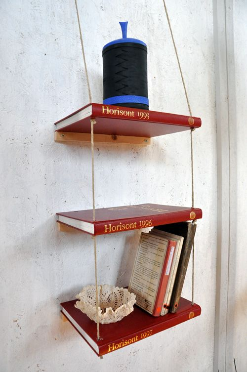 A clever shelf made out of old books. Description is in swedish but the pictures are pretty educational.