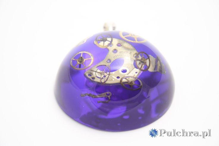 Duża zawieszka steampunk - niebieska półkula z trybikami zegarowymi Image 3
