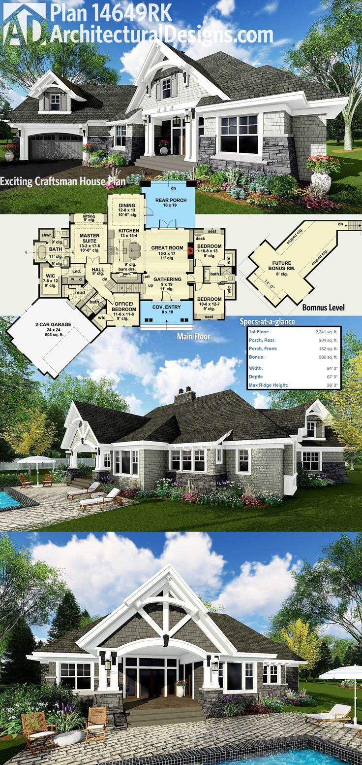 Architectural Designs Craftsman House Plan 14649RK gives you over 2,300 square feet of heated living space plus bonus expansion over the garage. The garage comes off at an angle giving it a dynamic presence and there is an outdoor living room in back. Ready when you are. Where do YOU want to build?