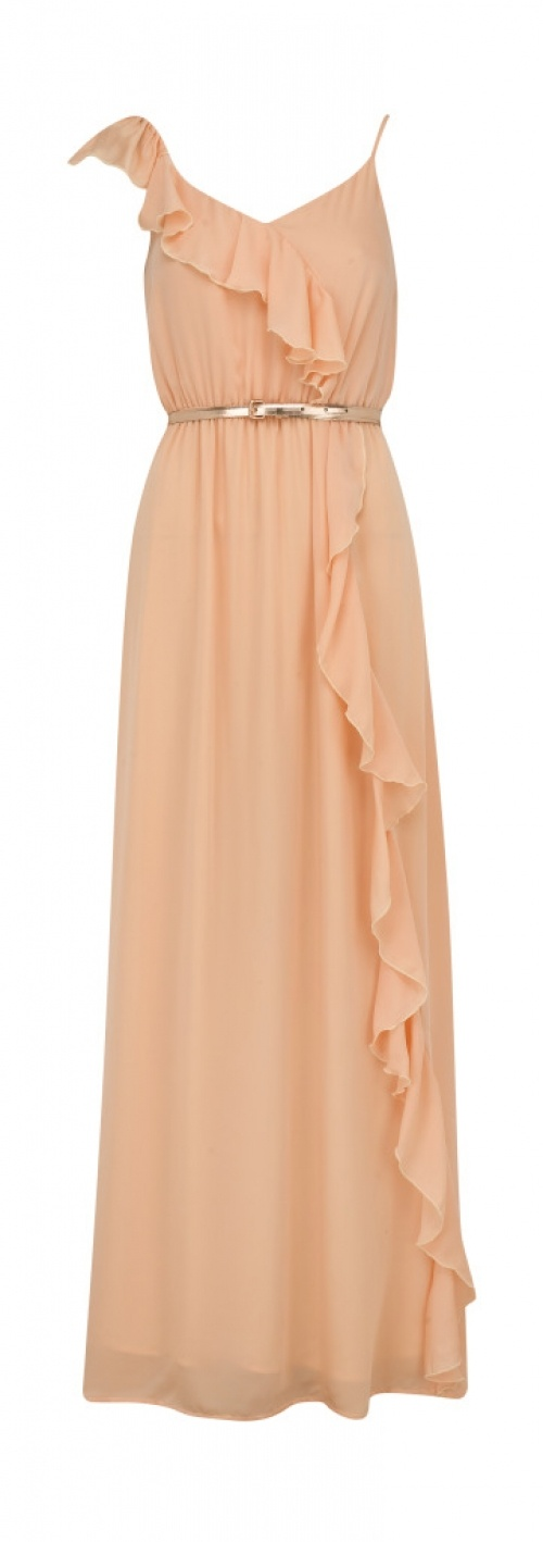 long peach dress. classy. I need a place to wear beautiful dresses