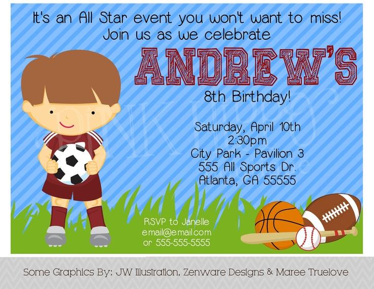 All Star Sports Boy Party Invitation Printable Invitation
