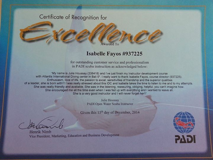 Certificate of Recognition of Excellence for Isabelle Fayos