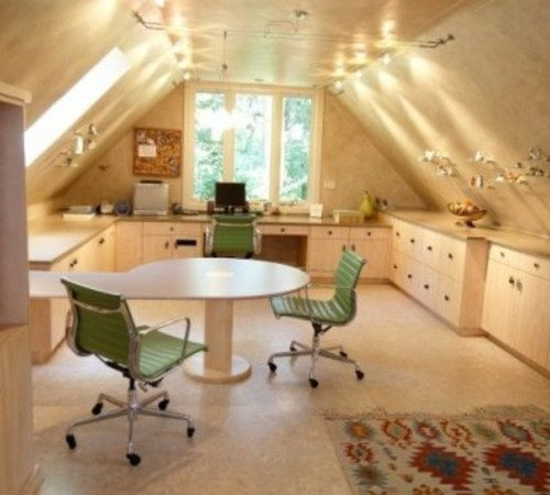 Heeey...a girl can dream, cant' she? attic sewing room | attic craft room | Quilt and Sewing Rooms