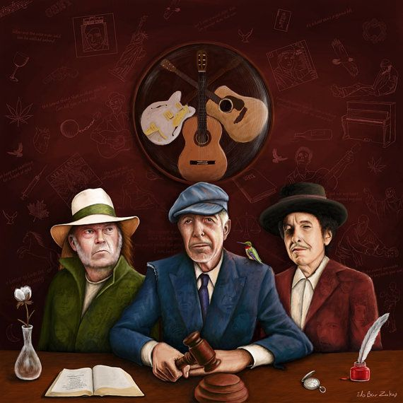 Bob Dylan Leonard Cohen Neil Young les juges. par IdoBarZakayArt