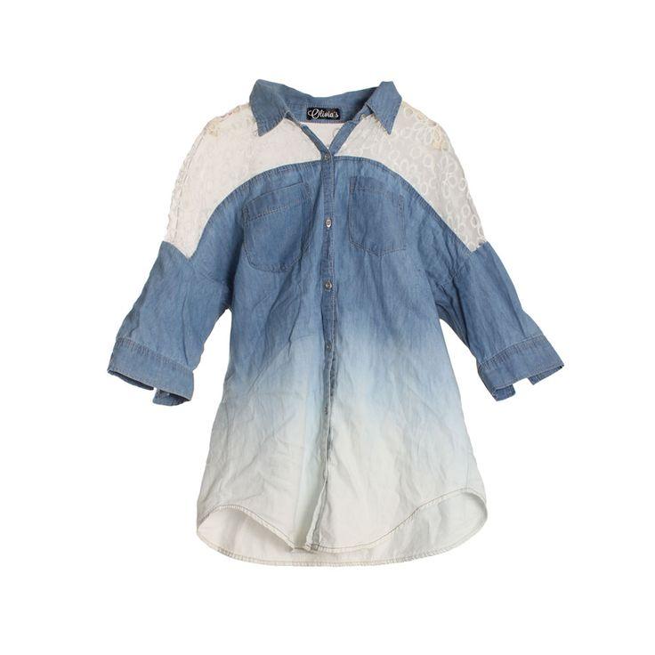 Polera de mujer denim, manga corta blanco con azul.