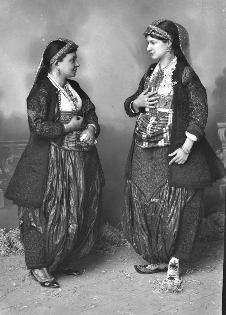 Two women in festive costumes.  From Shkodra, Albania, late 19th century. (Studio Marubi).