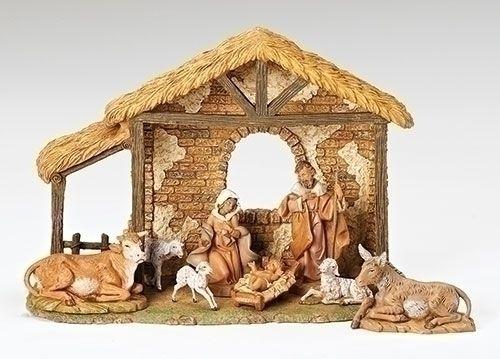 "8 PC Fontanini Nativity Set   with Stable & Animals 10 "" - F.C. Ziegler Company"