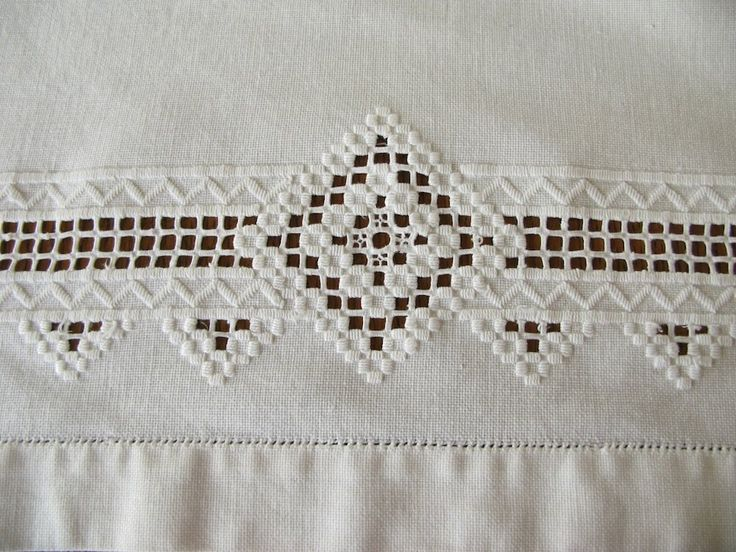 Hardanger pulled thread embroidery | Tablecloth White Embroidery Drawn Thread by PassedBy on Etsy