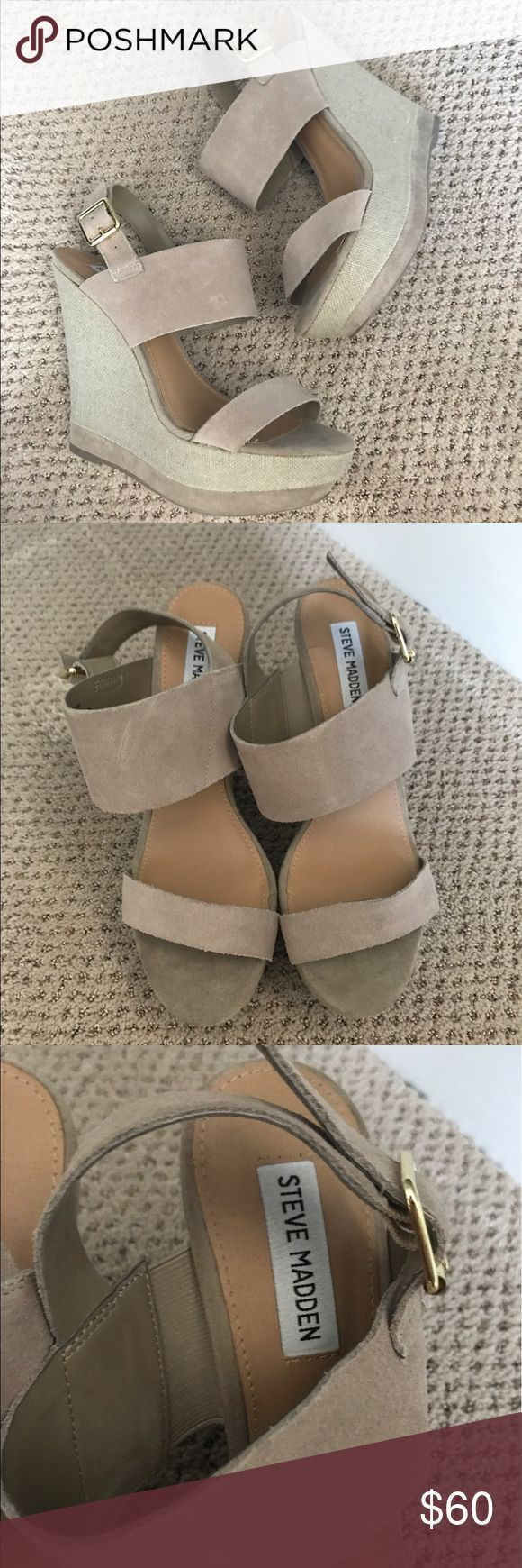 NWOT Steve Madden Wedges Brand new never worn wedges from Steve Madden. Suede texture and tan color. Look great on! Last picture is the same style but different color. Steve Madden Shoes Wedges