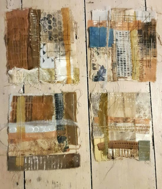 Julia Wright mixed media textile art pieces - patchwork, embroidery, print