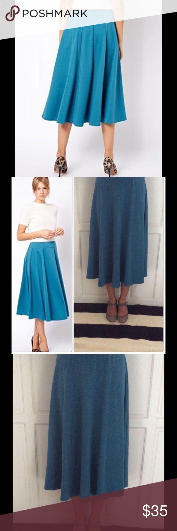 ASOS Aline Midi Skirt with Zip NWOT ASOS Teal Aline Midi Skirt with Zip and Pocket Turquoise Detail NWOT Size US 6, 14.5 waist/27 length ASOS Skirts Midi