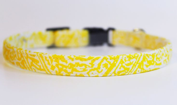 Beautiful handmade bright canary yellow floral cat collar by PurrsonalCreations on Etsy