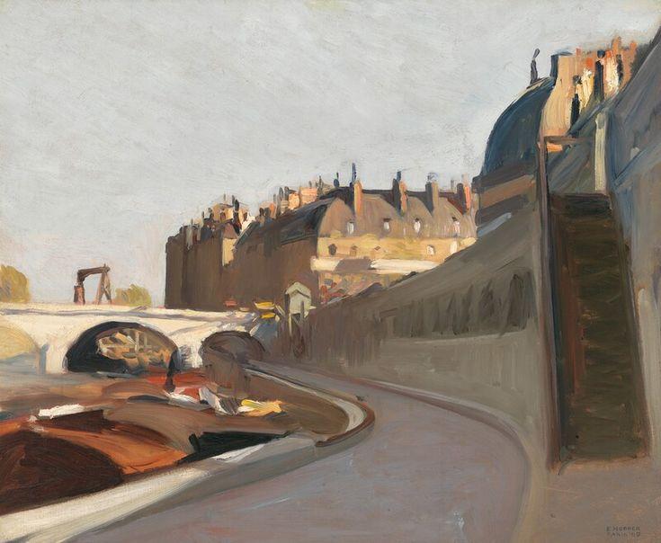 """Le Quai des Grands Augustins,"" Edward Hopper, 1909, oil on canvas, 23 11/16 × 28 3/4"", Whitney Museum of American Art:"