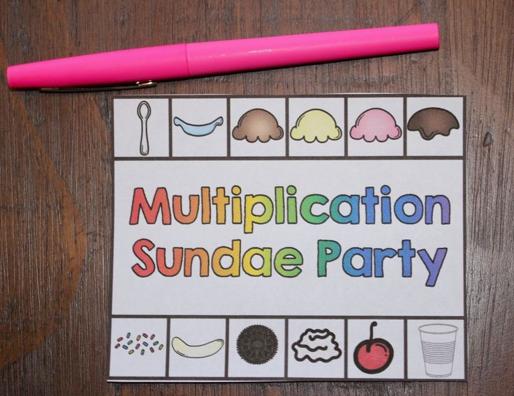 FREE Multiplication Sundae Party Cards and Printable