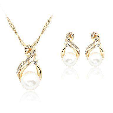 Rose gold met witte imitatie parel set sieraden met ketting en oorbellen