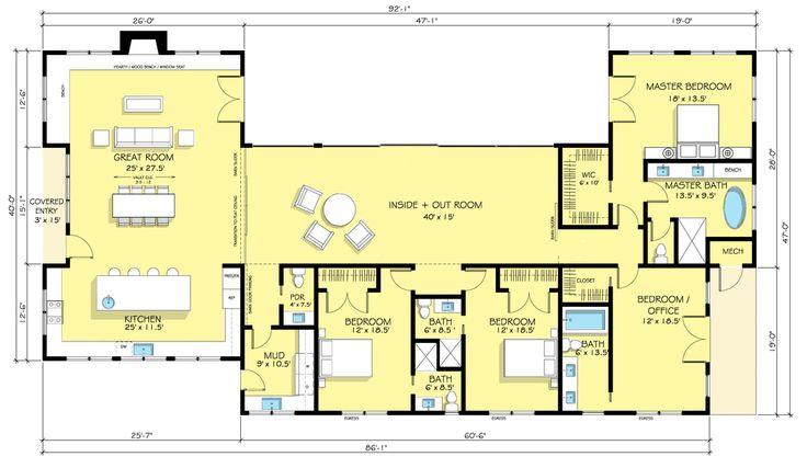 Ranch Style House Plan - 4 Beds 4.5 Baths 3402 Sq/Ft Plan #888-18 Floor Plan - Main Floor Plan - Houseplans.com