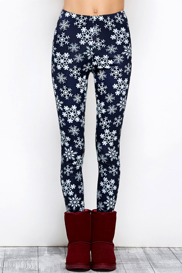 $10.07 Snowflake Print Stretchy Christmas Leggings