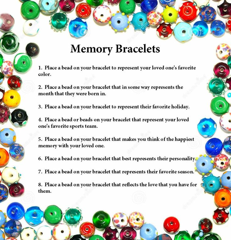 Memory Bracelets for grieving - but you can also use the same idea as a Coping/soothing bracelet when times get though e.g. recovery, anxiety, stress, panic, ED, SI, etc.