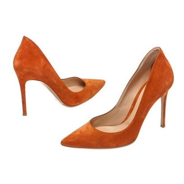 Pre-Owned Gianvito Rossi Orange Suede Pointed Toe Heel Pumps ($285) ❤ liked on Polyvore featuring shoes, pumps, orange, gianvito rossi shoes, suede pumps, pointy-toe pumps, orange shoes and high heel pumps