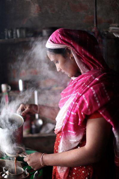 Preparing Masala tea, India