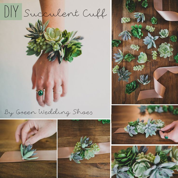 Step 1:Select thesucculentsandribbonyou'd like to use. Cut your ribbon so that it will fit around your wrist with space to tie the ends together.Step 2:La