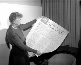 December 10th is International Human Rights Day! Photograph of Mrs. Eleanor Roosevelt of the United States holding a Declaration of Human Rights. #iamthatgirl