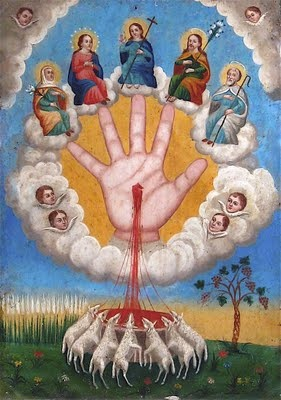 """""""La Mano Poderosa de Dios"""" (the Powerful Hand of God), is a much more complex narrative. Elaborate and esoteric, this graphic construct is well known to Mexican Catholics. Such a subject would be a challenge to render for any artist. These examples confirm the dexterity of the Mexican Retablo painters."""